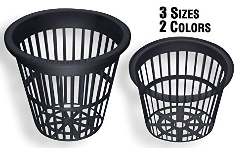 NP3AB: 3 Inch Black Slotted Mesh Net Pot for Hydroponics/Aquaponics/Orchids - 25 Pack
