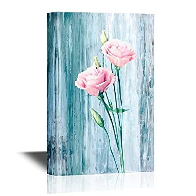Roses Canvas Wall Art - Pink Flowers on Vintage Blue Background - Gallery Wrap Modern Home Art | Ready to Hang - 12x18 inches
