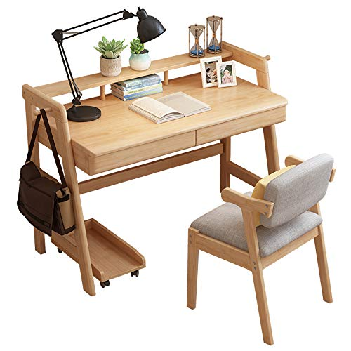 Amazon.com: PLLP Solid Wood Desk, Family Bedroom Student Desk with ...