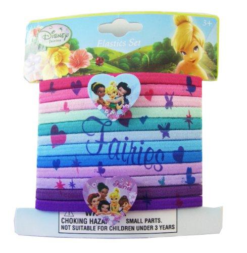 Disney Tinker Bell & Fairies 12pc Charm Hair Elastic Ponytail Bands - Tinkerbell Ponytail Hair Bands