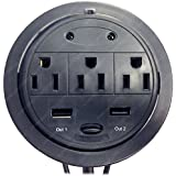 Power Tap Grommet with Hidden Power Center w/ 3 Power and 2 USB