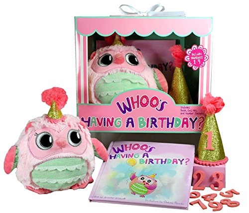 WHOO's Having a Birthday? Perfect Gift for 1st, 2nd, 3rd, and 4th Birthdays for Girls. Includes Book, Plush Owl, and Hat with Numbers 1-9 for Girls Milestone Memories Tradition