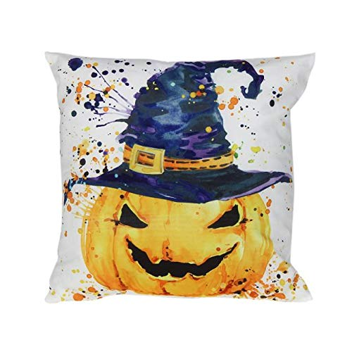 HomeMals Pumpkin Throw Pillow Cover Halloween Cushion Case Cotton Linen Autumn Fall Thanksgiving Home -
