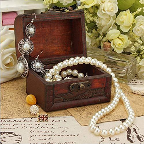 Wall of Dragon Wood Handmade Jewelry Box Storage Organizer Jewelry Bracelet Pearl Metal Lock Jewelry Case for Women Gift ()
