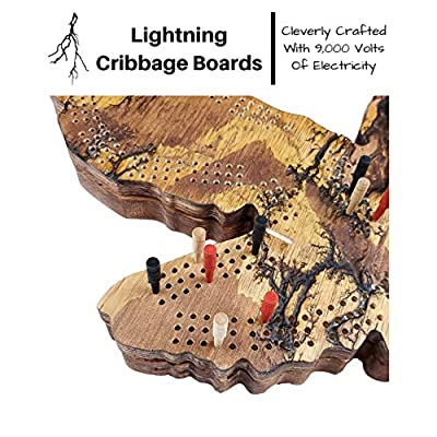 Fractal Burned Eagle Cribbage Board Game Set with Hidden Storage Base and a Hanger on The Back for Wall Decoration. Continuous 3-Track Board with Skunk Lines: Toys & Games