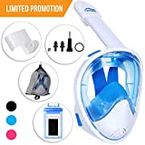 Full Face Snorkel Mask - Scuba Diving Set with Tubeless Anti-Fog Anti-Leak Design