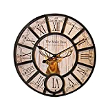 Cheap DecalMile Vintage Wooden Wall Clock with Animal Deer Wall Art Decor for Office Home Cafe (Diameter 16 Inches)
