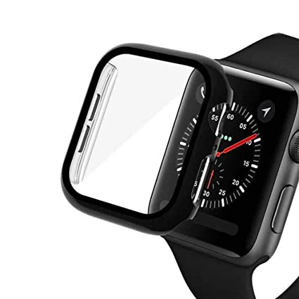 Protector Case Compatible with Apple Watch Series 5 4 3 2 1 Full Cover 44mm 40mm 42mm 38mm 3D Tempered Glass Protective Film Smartwatch Accessories ...