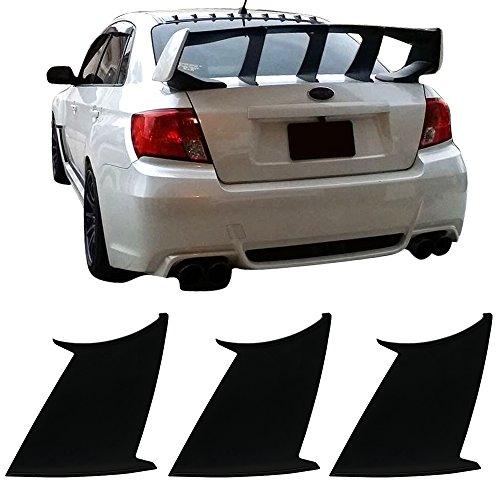 3PC Wing Stabilizer Fits 2008-2014 Subaru WRX 2008-2011 Impreza STI | ABS Unpainted Trunk Boot Lip Spoiler & 3M Tape Add On By IKON MOTORSPORTS | 2009 2010 2012 (Wrx Sti Wing)