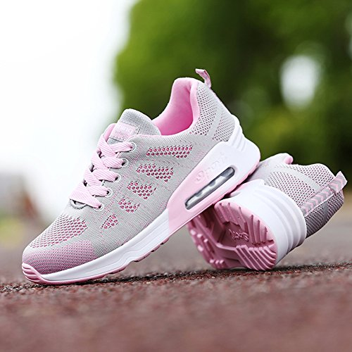 Womens Lightweight Athletic Running Shoes Laces Breathable Sport Air Fitness Gym Jogging Sneakers Pink mCvaJm