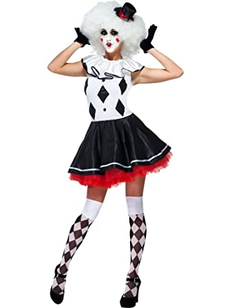 Goddessey 83014-S Harlequin Clown Costume - Black And Whiteu0026#44; ...  sc 1 st  Amazon.com & Amazon.com: Goddessey Harlequin Pantomime Clown Womens Sexy Jester ...