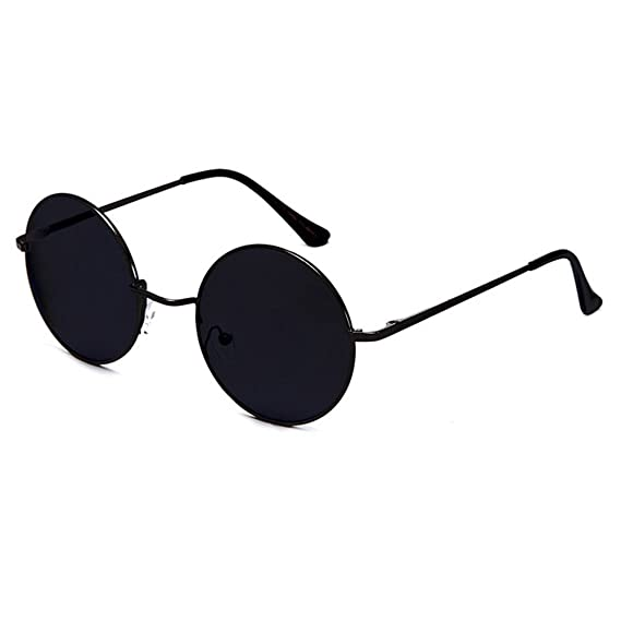 5e7b1974db6c48 Kiss Lunettes de soleil RONDES Hippie - style TEASHADES John Lennon -  Metallo Lumière VINTAGE homme femme - NOIR noir  Amazon.fr  Vêtements et  accessoires