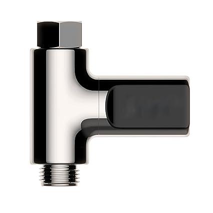 BESTOMZ Termómetro digital LED Ducha sin batería Monitor de temperatura del agua en tiempo real para