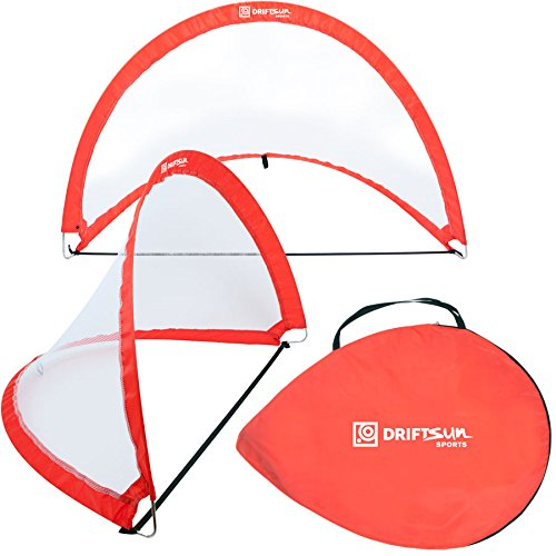 Driftsun Sports Pop up Soccer Goal Portable Folding Net Set (2 Soccer Net Goals in 1 Carry Bag) 4FT and 6FT