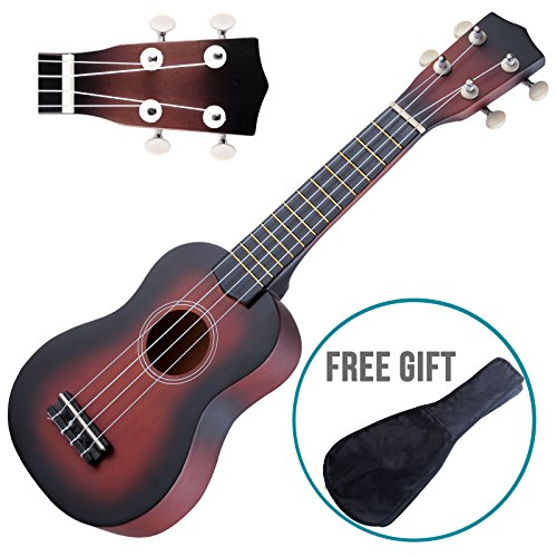 Ukulele guitar sapele 12 frets 21 inch wood soprano hawaiian instrument with carry - Hawaiian Wiki Wiki