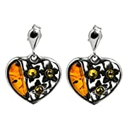 Amazon Lightning Deal 80% claimed: Sterling Silver Multicolor Amber Heart Stud Earrings