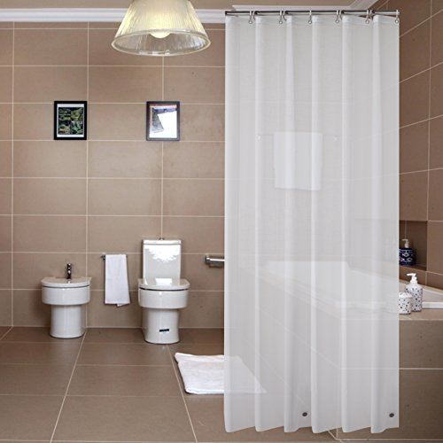 Sfoothome PEVA 8 Gauge Small Size Shower Curtain Liner,Waterproof,Odorless,Mildew Resistance, Eco Friendly 36inch by 72inch with 2 Bottom Magnets and Metal Grommets-Frost