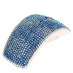 Blue Crystal Rhinestone Wireless Arc Foldable Optical Mouse