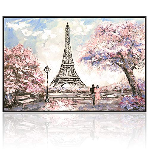 Visual Art Decor Large Painting of Couple on Romance Blossoming Paris Street Eiffel Tower Canvas Prints Wall Art Framed and Stretched Picture Modern Home Office Decal (06 Pink XLarge Floater Frame) ()