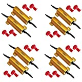 50W 6Ohm LED Load Resistors for LED Turn Signal Lights or LED License Plate Lights 4 pair (Fix Hyper Flash, Warning Cancellor)