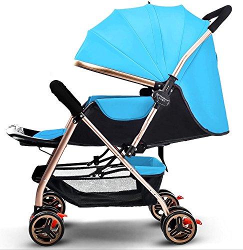 新生児の赤ちゃんキャリッジ折り畳み可能な座って、1ヶ月-5歳の赤ちゃんの2ウェイ8ホイールのためのダンピングベビーカートを横に振ることを避ける赤ちゃんトロリー目覚めを避ける (色 : 青) B07FGFNC57青