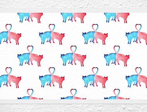 (I-love-Wandtattoo b-10027 Nursery Wall Decal Border Colored cats Wallpaper Stripes Girl kids decoration)