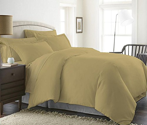 1000 Thread Count Duvet Cover Set 5 Piece With Zipper & Corner Ties 100% Egyptian Cotton Hypoallergenic (1 Duvet Cover 4 Pillow Shams) ( Queen/Full, Taupe ) by BED ALTER