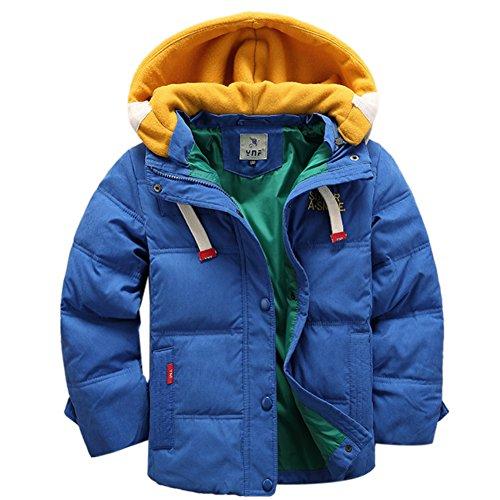 OMSLIFE Winterjacke für Kinder Jungen Mädchen verdickte Daunenjacken Mantel Trenchcoat Outerwear mit Kapuzen (131cm-140cm, blau)