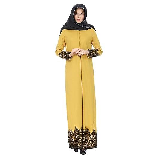 vanpower Vestido étnico de Manga Larga con Falda de Encaje Solapa ...