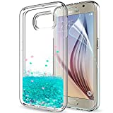 LeYi Galaxy S6 Case with Screen Protector, Girl Women 3D Glitter Liquid Moving Cute Personalised Clear Transparent Silicone Gel TPU Shockproof Phone Cover for Samsung S6 Turquoise