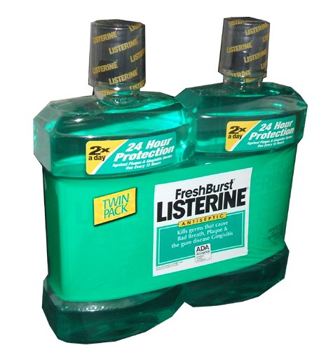 Listerine Antiseptic Mouthwash Fresh Burst Flavor 1.5 Liter Bottle (Pack of 2)