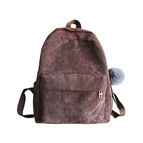 Aland Travel Solid Color Women Corduroy Backpack Shoulder Bag with Pompom Pendant Brown
