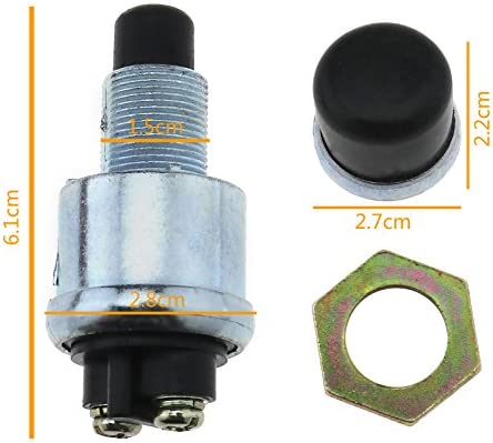MFPower 12V 20A Waterproof Horn Engine Start Button Push Switch For Car Boat Bike Engine Start Heavy Duty Starter Ignition Switch Boot On-Off