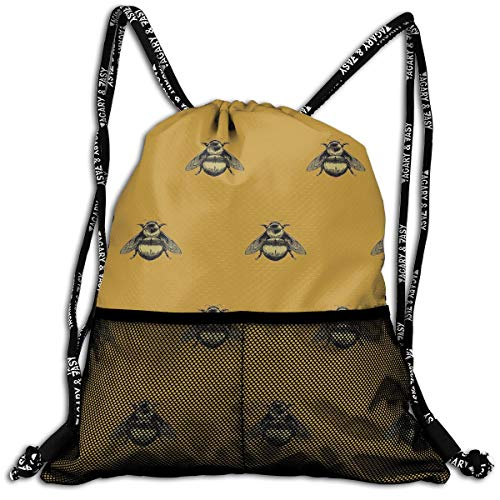 Girls & Boys Drawstring Bag Theft Proof Lightweight Beam Bag, School Tote Cinch Sack - Bee Picture Water Resistant Backpack Soccer Basketball Bag ()