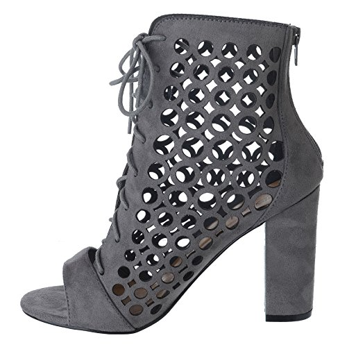 LADIES WOMENS TIE LACE UP CAGED BLOCK HEEL PEEP TOE ANKLE HIGH SANDALS CUT OUT BOOTS SHOES SIZE Grey Faux Suede EkPmXJNFD
