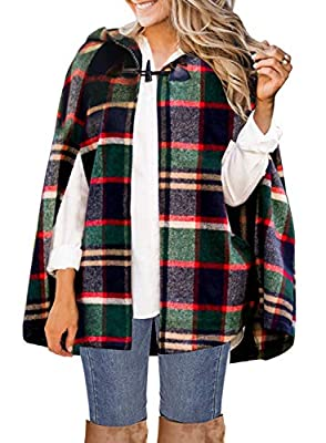 MIHOLL Women's Plaid Jacket Hooded Toggle Button Warm Shawl Cape Coats