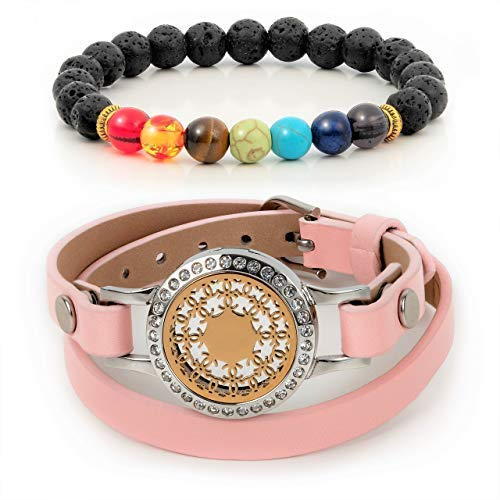 Divass Essential Oils Diffuser Bracelet Christmas Women Jewelry Gift Set 7 Chakra Lava Stone Beads Womens Girls Birthday Beauty Sets Stainless Steel Aromatherapy Necklace Pink Genuine Leather