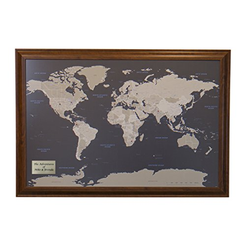 Push Pin Travel Maps Personalized Earth Toned World with Brown Frame and Pins 24 x ()