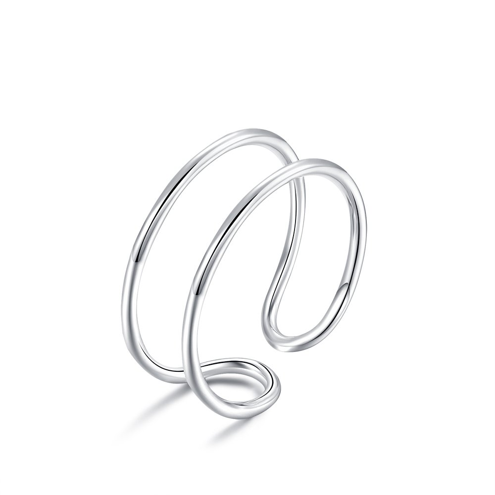 Lemon Grass Sterling Silver Simple Band Ring Open Ring Ajustable Wide Band Line Rings