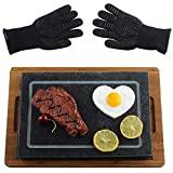 Old Cooking Stone Set Grill Lava Hot Black Steak Rock Sizzling Stones and Bamboo Plate and Heat Resistant Gloves Set