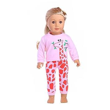 Ocamo Pijama de la historieta de la moda para muñeca Barbie de 18 pulgadas para la