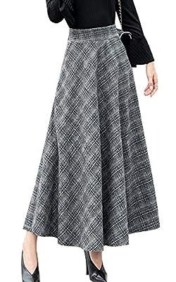 chouyatou Women's High Waisted Maxi A-Line Check Plaid Wool Skater Skirt Pocket