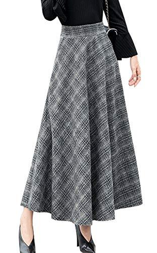 (chouyatou Women's High Waisted Maxi A-Line Check Plaid Wool Skater Skirt Pocket (X-Small, Grey))