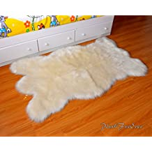 SC Love Collections Faux Fur Decors Off White Bearskin Pelt Shaggy Accent Lodge Cabin Area Rug (3' x 5' feet)