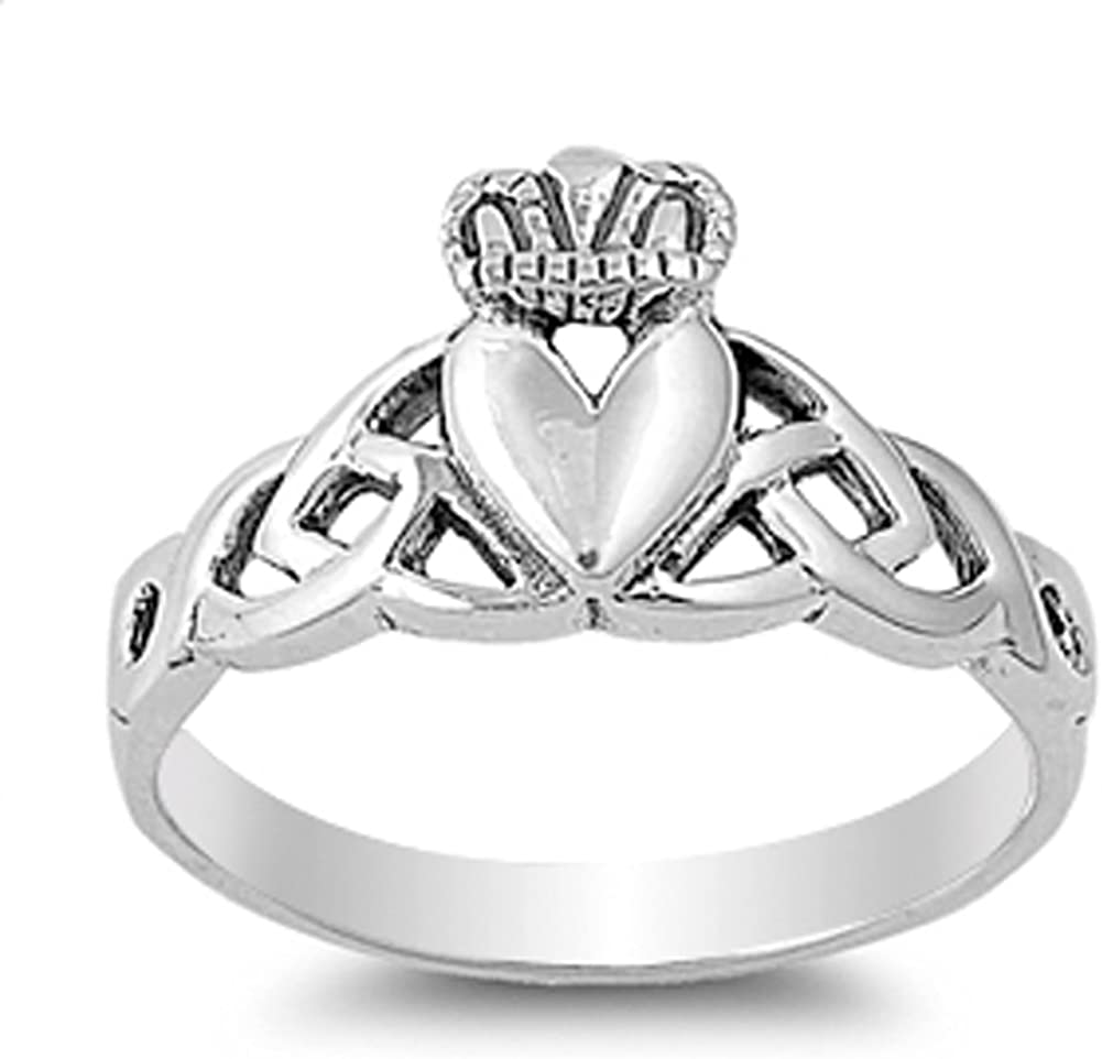 Turquoise Celtic Claddagh .925 Sterling Silver Ring Sizes 4-10