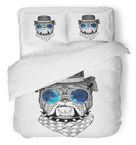 (Emvency 3 Piece Duvet Cover Set Breathable Brushed Microfiber Fabric Animal Bulldog for Tattoo Emblem Badge Design Funny Adorable Bob Hat Bombin Hat Bedding Set with 2 Pillow Covers Twin Size)
