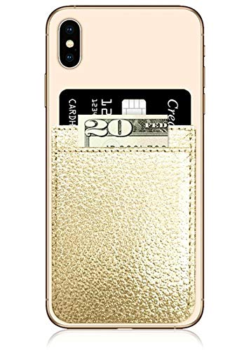 (iDecoz Phone Pockets - Stick On Credit Card Wallet - Slim Card Holder - Universal fit - Apple – iPhone – Samsung – Galaxy - and More. (Gold Leather))