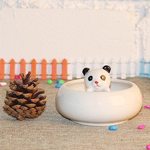 Calunce White Ceramic Cute Animal Ornament Succulent Plant Pot / Tabletop Decorative Planter (panda) hot sale