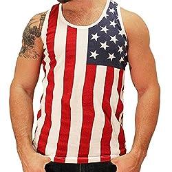 American Summer Men's Tank Top (Medium, SUMMER-STARSONTOP-BLACKWH-5402)