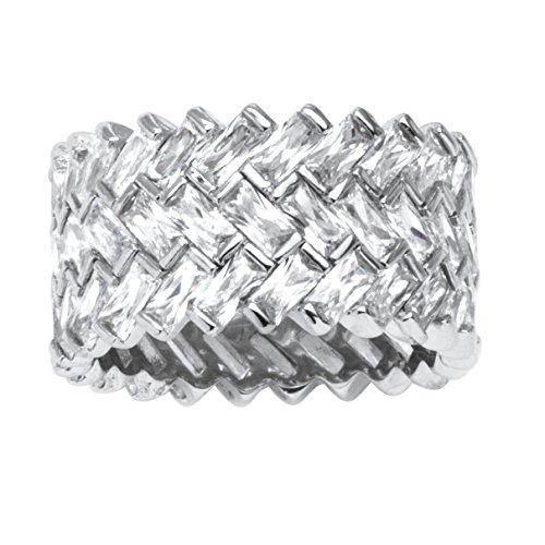 (Platinum over Sterling Silver Baguette Cubic Zirconia Cross Hatch Eternity Ring)